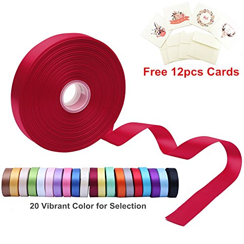 Double Face Satin Ribbon 1 Inch Wide x 100 Yard Roll (300 FT Spool) with Free 12 Greeting Cards for Art & Sewing, Party/Wedding Favor Ribbons, Hot Red