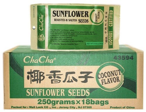 Chacha Sunflower Roasted and Salted Seeds (Coconut Flavor) 250g X 18 Bags by ChaCha