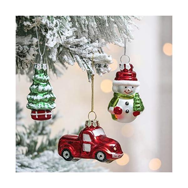 Valery Madelyn Palle di Natale Vetro Addobbi Natalizi Set, 9 Pezzi 5-7cm Classic Collection Red Green And White Palline di Natale Decoration for Addobbi Natalizi per Albero 4 spesavip
