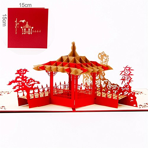 Paper Spiritz Chinese Pavilion 3D Pop Up Greeting Card Handmade Happy Birthday Wedding Anniversary Friendship Merry Christmas Thanksgiving Thank You Best Wish Good Luck Happy New Year Valentine's Day
