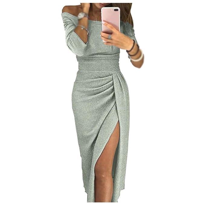 4ed176b332 Vestido de Las Señoras Slim Fit Falda Media Longitud Collar de una Palabra  Apretado Cadera Color