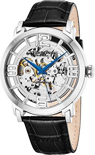 Stuhrling Original Mens Automatic-Self-Wind Luxury Dress Skeleton Dual Time Gold-Tone Wrist-Watch 22 Jewels 47 mm...