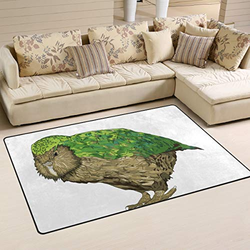 Personalized Kakapo New Zealand Bird Area Rugs, Non Slip Home Decor for Living Room, Bedroom, Dining Room, STQT 31