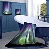 alisoso Aurora Borealis Long Bathroom Accessories Set Exquisite Atmosphere Solar Starry Sky Calming Night Image Design Custom towel set Mint Green Dark Blue Violet