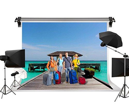 GESEN Backdrop 7X5ft Seaside Landscape Wooden Long Bridge Gazebo Theme Party Wedding Photography Background Video Studio Props SEN737