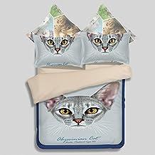 Blue Cat Print Bedding Set,Twin Queen King Size Duvet Cover Set,100% Soft Polyester Bed Linen (Queen)