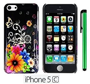 Yellow Pink Chromatic Flower Black Silver Butterfly Premium Design Protector Hard Cover Case for APPLE IPHONE 5C (For the Colorful) + 1 of New Metal Stylus Touch Screen Pen