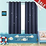 Blackout Curtains Star Outcut Kids Room Window Treatment 63 inch Blue, 2 Panels