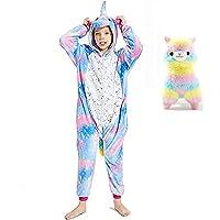 Kids Unicorn Onesie Pajamas Soft Flannel One Piece Animal Costume Girls Gift Cosplay Halloween Carnival Outfit Homewear