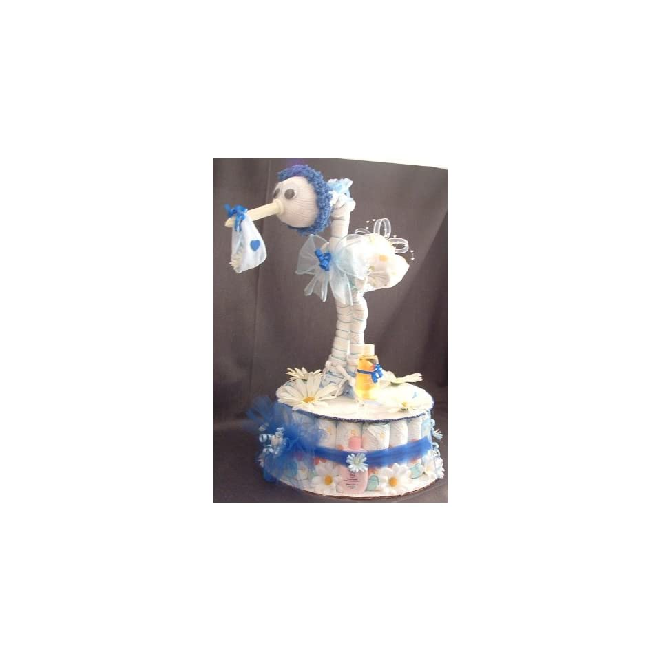 Blue DIAPER STORK Baby Shower Gift Centerpiece Boy Girl Diaper Cake Decorations