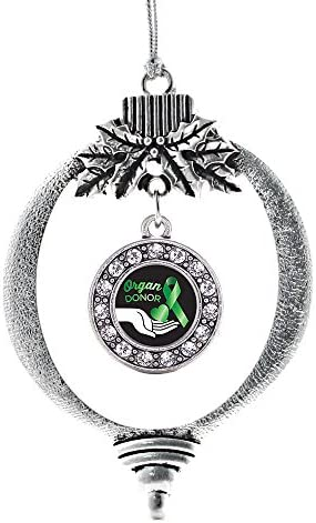 Amazon Com Inspired Silver Organ Donor Charm Ornament Silver Circle Charm Holiday Ornaments With Cubic Zirconia Jewelry Home Kitchen