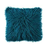 Ojia Deluxe Home Decorative Super Soft Plush Mongolian Faux Fur Throw Pillow Cover Cushion Case (24 x 24 Inch, Dark Blue)