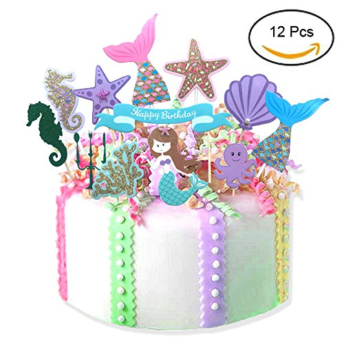 12Pcs Fairytale Mermaid Theme Happy Birthday Cake Toppers
