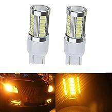 KATUR 2pcs 7443 7444NA 5630 33-SMD Amber 900 Lumens 8000K Super Bright LED Turn Tail Brake Stop Signal Light Lamp Bulb 12V 3.6W