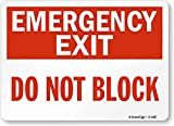 Smartsign S-1487-PL-14'Emergency Exit- Do Not Block' Plastic Sign, 10' x 14', Red on White