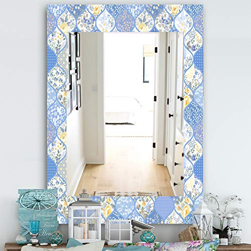 Designart 'Floral Dew 8' Traditional Wall Mirror Wall Mirror, Framed Mirrors, Large -