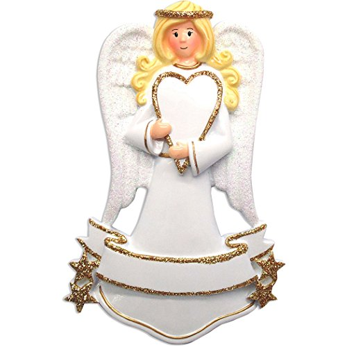 (Personalized Angel Christmas Tree Ornament 2019 - Blonde Religious Prayer God Heaven Woman in Glitter Gold White Dress Wings Halo Heart Memorial Remembrance Choir Gift Year - Free)