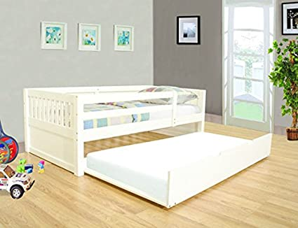 Amazoncom New White Finish Wood Twin Size Day Bed With Guardrails