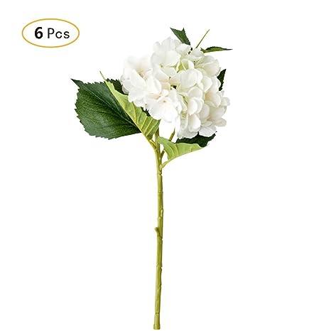 Jia Hu 6 unidades grandes arreglos de flores artificiales plantas hortensias oficina hogar decorativo, blanco