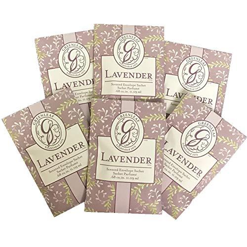 (GREENLEAF Fragrant Small Sachet Scented Envelopes Drawer Liners, Room and Car Freshener Set of 6 (Lavender))