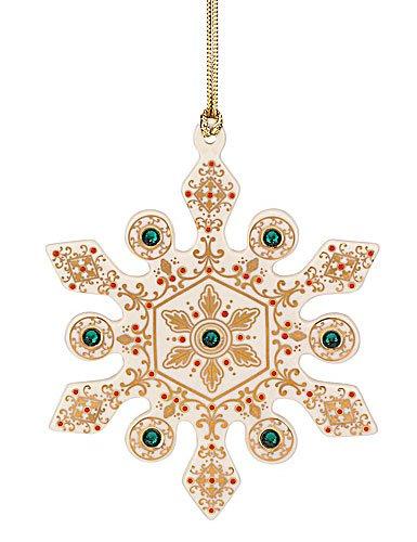 Lenox Christmas China Ornaments 2012 China Jewels Snowflake Emerald -