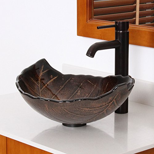 durable modeling ELITE Autumn Leaves Design Tempered Bathroom Glass Vessel Sink & Oil Rubbed Bronze Faucet Combo