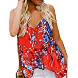 TOTOD New Floral Print Tank Top ! Womens Sexy Sleeveless V Neck Button Loose Casual Shirts Elegant Blouse Red