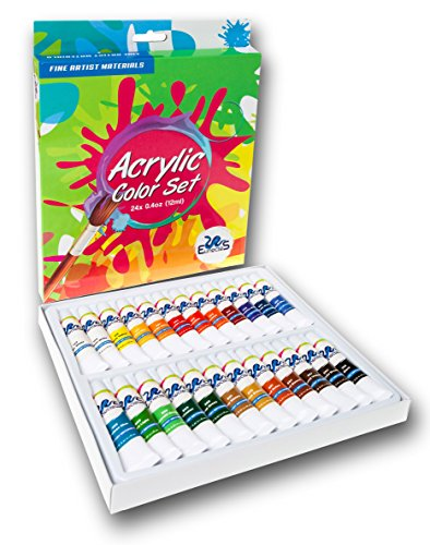 ACRYLIC PAINT SET - Best Artist Kit of 24x12ml - Color Paint - For Kids Adults Beginners and Professionals - Ebook - For Canvas, Wood, Clay, Fabric, Nail Art, Ceramic -
