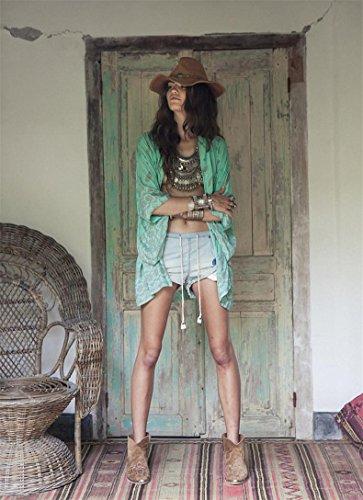 A Chiffon Da Stampato Cardigan Bagno Costume Cardigan Collo Maniche Da Chiffon In Corte Scamosciato Con Up Donna Spiaggia Kword Verde Boho In Cover Bikini a6qIxOw