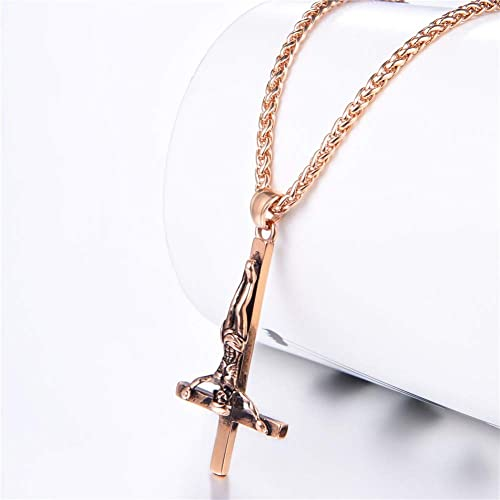 18-28/'/' Rolo chain Stainless Steel  inverted cross Charms pendant Necklace Mens