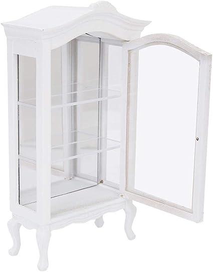Blanc 1//12 miniature vitrine en bois vitrine meuble de maison de poupée