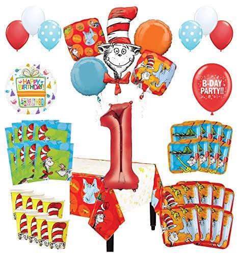 Mayflower Products Dr Seuss 1st Birthday Party Supplies 16 Guest Decoration Kit and Balloon Bouquet -