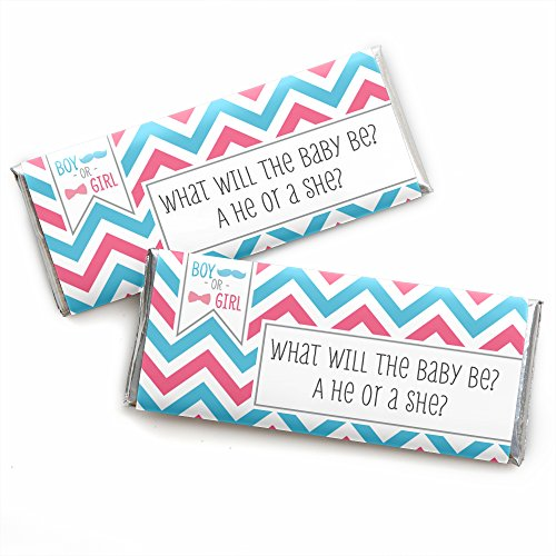 Chevron Gender Reveal - Candy Bar Wrappers Baby Shower or Gender Reveal Party Favors - Set of 24 ()