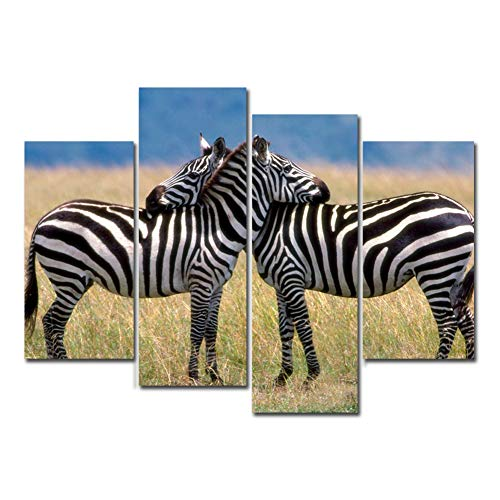 4 Panels Canvas Painting Wall Art Animal Zebra Picture Prints on Canvas Modern Landscape Unframed Artwork for Living Room Bedroom Home Decor (No -