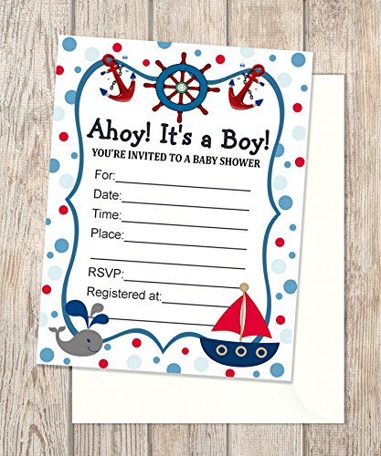 Amazon nautical fill in blank invitations flat cards set of 20 nautical fill in blank invitations flat cards set of 20 nautical baby shower invitations filmwisefo Images
