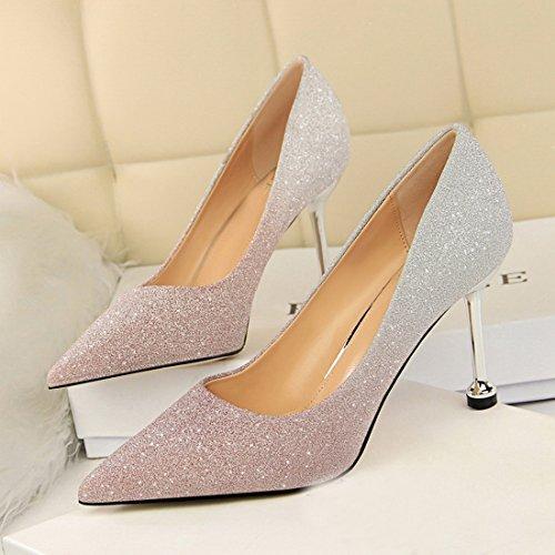 de para Zapatos con Tonos Dos Noche Miyoopark Rosado Mujer Purpurina A4afx