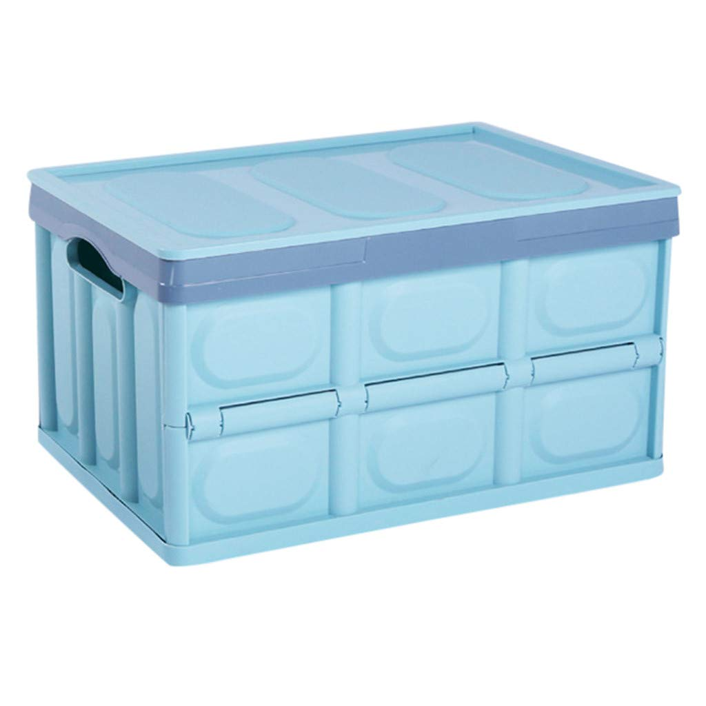 Collapsible Storage Bins HP95 Folding Plastic Storage Crate Foldable Utility Distribution Container with Lid and Handle Hole,11.81×16.93×9.06inch, Pack of 1 (Blue)