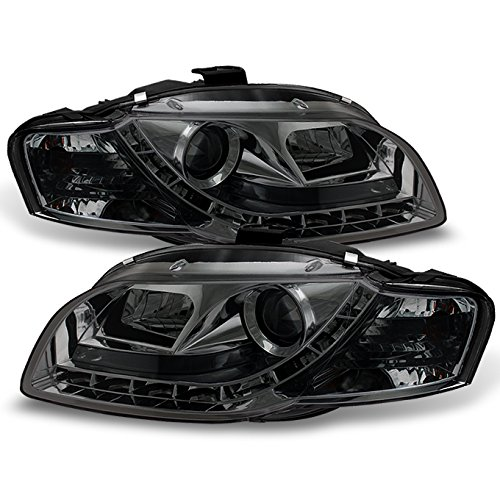 (For 06-08 Audi A4 B7 Sport Sedan Smoked Smoke DRL Daytime LED Strip Projector Headlights Lamps Left + Right)