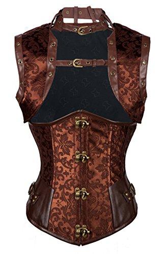 Leather Ladies Vest (Kiwi-Rata Women's Spiral Steel Boned Vintage Corset Steampunk Gothic Bustier Waist Cincher Corset Vest)