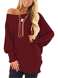 EZBELLE Womens Oversized Sweaters Off The Shoulder Tops Long Sleeve  Pullover Sweater Knit Jumper 94f6a2ab4
