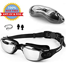 Zerhunt Swim Goggles, Swimming Goggles UV 400 Protection Anti Fog No Leaking Wide View Pool Goggles Ear Plug Nose Clip & Protective Case Women Men Adult Youth Kids