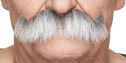 Mustaches Self Adhesive Fake Mustache, Novelty, Rocking Grandpa's False Facial Hair for Adults, Gray with White -