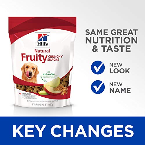 Hill's Science Diet Fruit Dog Treats, Crunchy Fruity Snacks with Apples & Oatmeal Dog Snacks, Healthy Dog Treats, 8 oz Bag