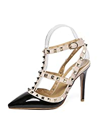 fereshte Women's Studded Rivet Pointy-Toe Slingback Pumps Ankle T-Strappy Stiletto Heels Sandals