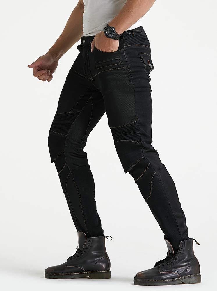 GELing Jeans da Moto da Uomo Kevlar Motociclista Pantoloni Rinforzati con Protettivo Armours,Blu,M