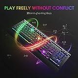 VicTsing Gaming Keyboard, USB Wired Keyboard, Quiet Durable All-Metal Panel Computer Keyboard, Bright Rainbow LED Backlit Keyboard for Desktop, Computer - Black