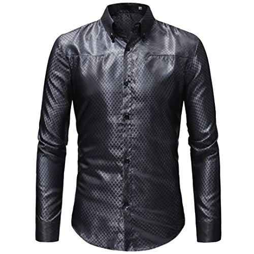 OWMEOT Mens Classic Slim Fit Contrast Inner Long Sleeve Dress Shirts 80%OFF