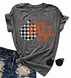 Halloween Happy Fall Y'all Plaid Pumpkin T-Shirt Women Casual Short Sleeve Letter Funny Top Tee Gray