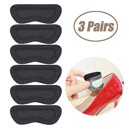Heel Grips Pads Liner for Loose Shoes,Leather High Heel Pads for Shoes Too Big,High Heel Inserts for Women Men Anti Slip Blister, High Heel Insoles,3 Pairs (Black, Thicker)