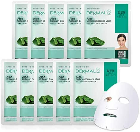 DERMAL Aloe Collagen Essence Facial Mask Sheet 23g Pack of 10 - Skin Revitalizing & Soothing, Refreshing and Moisturizing, Sunburn Relief, Daily Skin Treatment Solution Sheet Mask